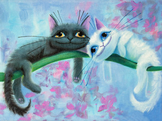 an original painting on canvas of white and black funny cats with big eyes, joy and happy mood, part of collection..