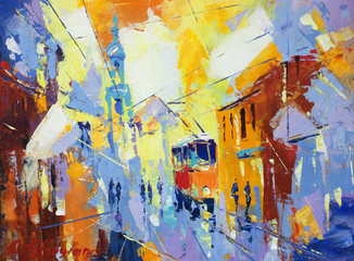 Obraz an original oil painting on canvas cubism style, parto of cubism landscapes collection, jut and ordinary day in the city, urban, city life,. - fototapety do salonu