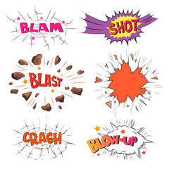 Set of comics boom. Blow up. Shot. Blast. Crash. Hand drawn vector illustration