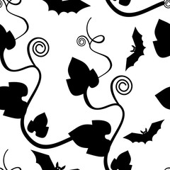 Seamless pattern with leaves and flying bats silhouettes. Original vector background for greeting cards, invitations, prints.