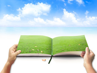 World environment day concept: Open book of nature in a beautiful green meadow on the beach and blue sky background