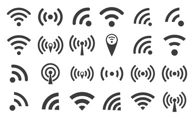 WI-FI set icons silhouettes and wireless connection airwaves isolated on a white background, vector illustration for web design EPS10 Wall mural