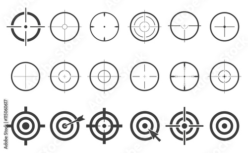 Target Set Icons Sight Sniper Symbol Isolated On A White Background