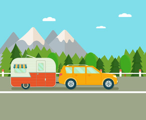 Road trip. Travel trailer and suv. Forest landscape. Vacation poster concept. Flat vector illustration