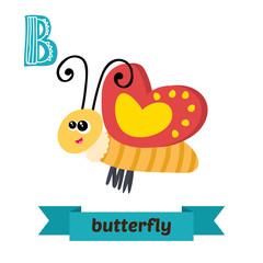 Butterfly. B letter. Cute children animal alphabet in vector. Fu
