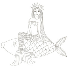 Mermaid in a crown sitting on the fish. Vector illustration.