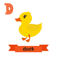 Duck. D letter. Cute children animal alphabet in vector. Funny c