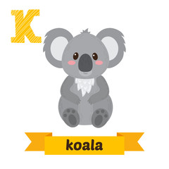 Koala. K letter. Cute children animal alphabet in vector. Funny