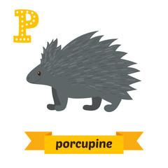 Porcupine. P letter. Cute children animal alphabet in vector. Fu
