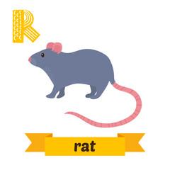 Rat. R letter. Cute children animal alphabet in vector. Funny ca