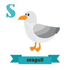 Seagull. S letter. Cute children animal alphabet in vector. Funn