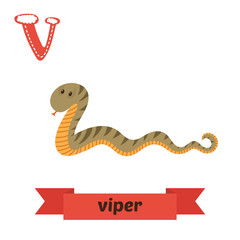 Viper. V letter. Cute children animal alphabet in vector. Funny