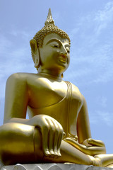 Buddha image with sky background,Buddha face