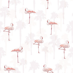 Tropical summer seamless pattern with flamingo birds