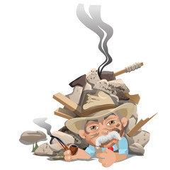 Old smoking man in hat under rubble of house