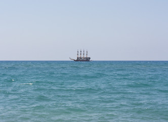 The ship sails at sea photo