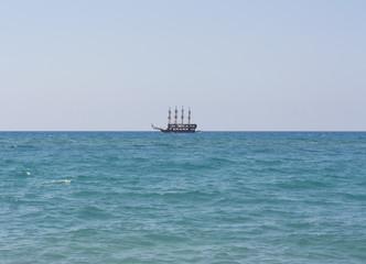The ship sails at sea photo