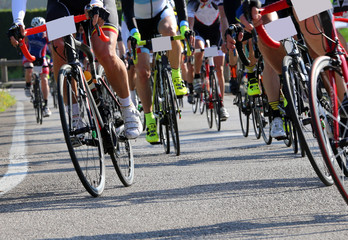 cyclists run fast on bicycles during the sports competition