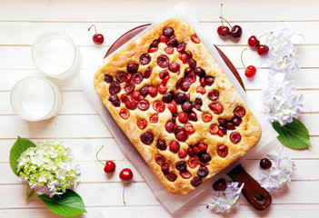 Italian sweet Bread Focaccia with Cherries for Breakfast or Lunc