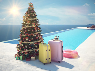 christmas vacation at the pool. 3d rendering