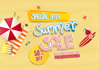 Summer sale background design with beach elements. Vector illustration