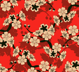 a Japanese style seamless tile with a cherry tree branch and flowers pattern in black, red and ivory