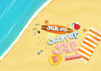 summer sale background design, with text and beach objects,