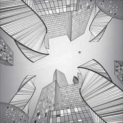 Business building, silver city, urban life, infrastructure illustration, modern architecture, skyscrapers, airplane flying, vector design art
