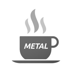 Coffee mug icon with    the text METAL