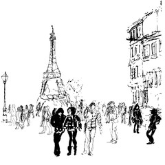 Hand drawn vector sketche. Ink illustration of Paris street, lights, tower, cars, people.