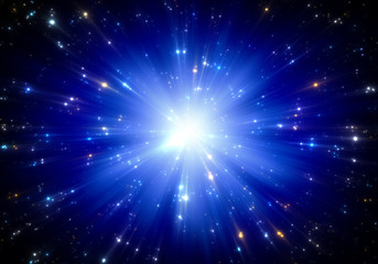 Space tunnel or time warp, traveling in space with stars.