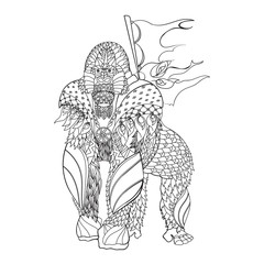 Zentangle patterned gorilla standing