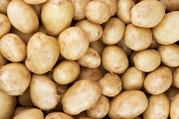Raw baby potatoes. Close up, Top view, High resolution product.
