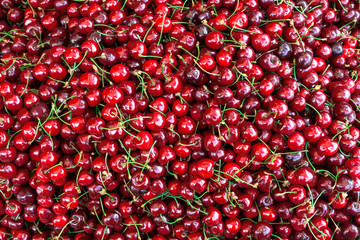 Ripe cherries. Close up, Top view, High resolution product.