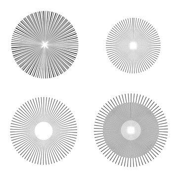 illustration vector starburst or sunburst Backgrounds set. Ray,