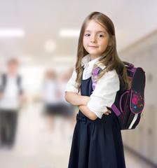 Caucasian school girl child indoors background.