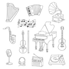 Music icon set vector illustrations hand drawn doodle. Musical instruments and symbols piano, guitar, accordion, gramophone, saxophone, violin, music notes, microphone, headphones, record player.