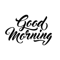 Good morning - script lettering for greeting card.