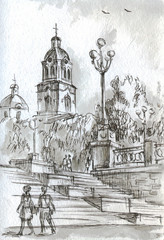 urban landscape with church