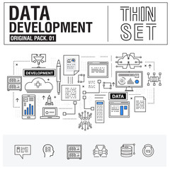 New modern thin line icons set development data analysis