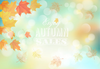 Wall Mural - Enjoy autumn sales background with colorful leaves. Vector.