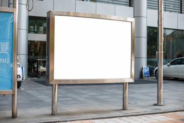 Metallic billboard. Place for your message. Advertising banner