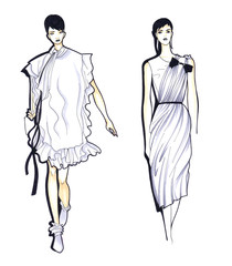 Fashion Sketch of Two Beautiful Woman