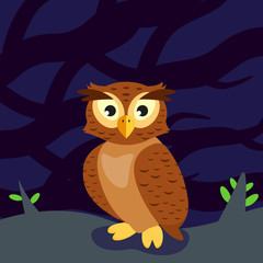 owl in the forest at night, sitting on the ground, amid the shadows of the trees