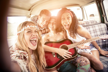 Friends in a 70's van
