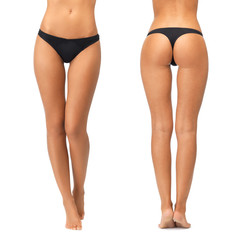 female legs and bottom in black bikini panties