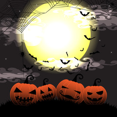 Halloween night with pumpkin,cobweb and bats on full moon vector illustration background