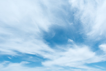 White fluffy clouds with blue sky