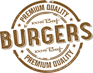 Premium Burgers Vintage Sign Stamp
