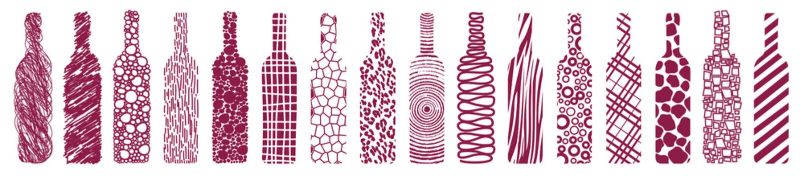 wine bottles, abstract, vector